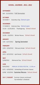 school calendar 2011 2012 september 9 6 12 23 2011 fall semester