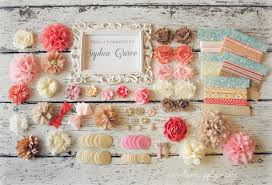 diy headband making kit shabby chic burlap pink ivory coral