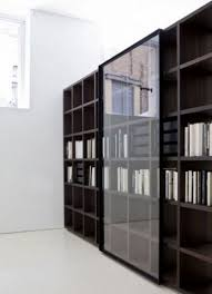 wall decoration stylish bookshelves with glass doors oak