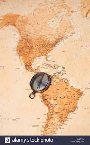 America North And South Map by World Map With Compass Showing North And South America Stock Photo