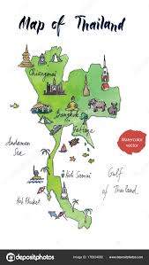 Map Of Thailand Map Of Attractions Of Thailand Watercolor Hand Drawn Vector
