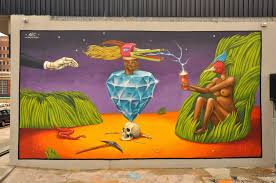 surreal wall mural art paintings interesni kazki their art is a mixture of fantasy psychedelia religious iconography hybrid animals and contemplative humor think hieronymus bosch meets dali at a b