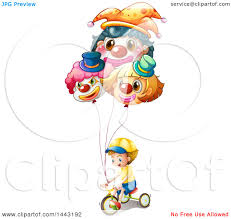 clown baloons clipart of a white boy a bike with clown balloons royalty