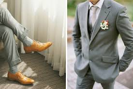 light gray suit brown shoes wedding groom style