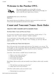 Count And Noncount Nouns Practice Pdf Purdue Owl Count And Non Count Noun Explanation Pdf Noun