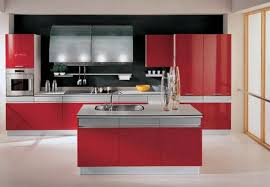 white kitchen red accessories interior design