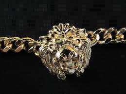 light chain necklace images Gold metal thick light chains bracelet big lion head trendy new JPG
