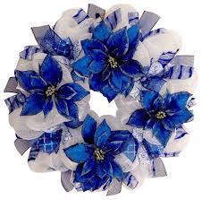 handmade blue and silver hanukkah poinsettia mesh