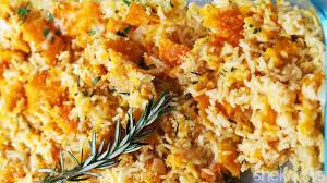hearty butternut squash rice casserole is vegetarian fall comfort food