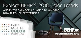 behr daily dose of color sweepstakes daily prizes