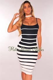 navy blue white striped ribbed knit dress