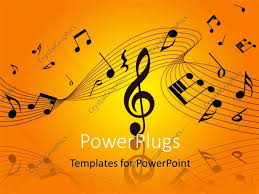 powerpoint template musical notes and symbols over orage yellow