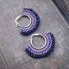 hoop beaded earrings beaded hoop earrings using brickstitch technique bead