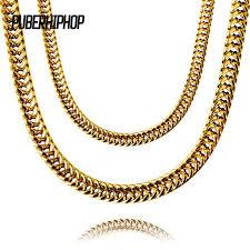 mens cuban link necklace images Jfy heavy mens gold color finish thick miami cuban link necklace jpg
