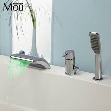 Waterfall Bath Faucets Oil Rubbed Bronze Waterfall Widespread Bathtub Faucet With Hand
