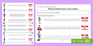 ks1 me and my name lower case letters pencil control activity