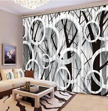 Black And White Window Curtains Modern Style 3d Branches Circle Window Curtain Black And White 3d
