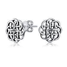 925 sterling silver celtic shield knot stud earrings 9mm