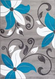 amazon com t1014 turquoise gray white 5 u00272 x 7 u00272 floral oriental