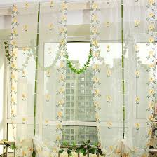 fresh daisy floral yellow gauze sheer curtains