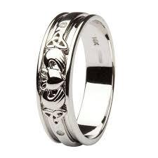 the gents wedding band gold diamond set celtic and claddagh wedding band
