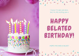 pink and cream cake belated birthday card templates by canva