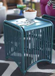 furniture blue lattice side table finished with blue color with