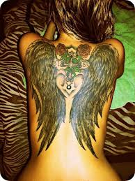 black wings with red roses and cross tattoo on back tattoos book