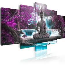 Buddha Deko Wohnzimmer Wandbilder Xxl Buddha Wald Wasserfall Leinwand Bilder Wohnzimmer