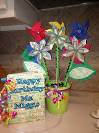 birthday card book made from students in class and money flowers