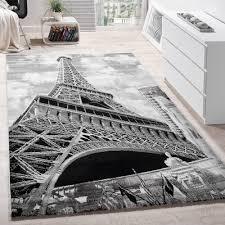 Wohnzimmer Bild Modern Modern Designer Landmark Rug Paris Eiffel Tower Motif Mottled Grey