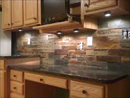 kitchen stacked stone backsplash installation grey tile flooring