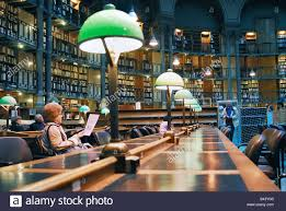 paris france inside national french library oval reading room