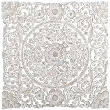 this dramatic wall panel finished in antique white is heavy