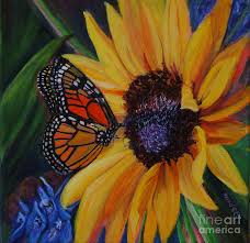 butterfly on sunflower painting by diane speirs
