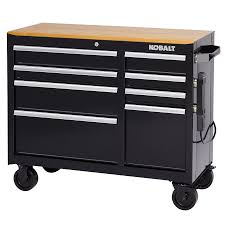 Rolling Tool Chest Work Bench Shop Kobalt 34 5 In X 41 In 8 Drawer Ball Bearing Steel Tool
