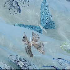 Blue Butterfly Curtains Blue Polyester Embroidery Butterfly Sheer Curtain