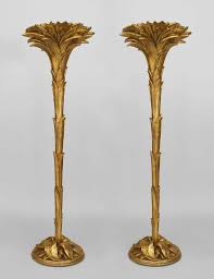 Tree Floor L Pair Of Deco Serge Roche Gilt Palm Floor Ls Price 55 000