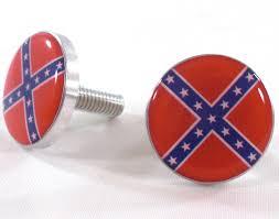 Confederate Flag Jewelry Polished Billet License Frame Bolts Rebel Flag Set Of 2