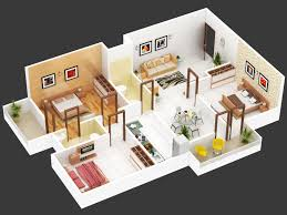 3 Bhk Apartment Floor Plan by 3bhk Floor Plan Isometric View Design For Hastinapur Smart Village