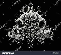 skull ornament black background symbols stock illustration