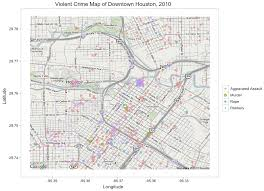 Blank Texas Map by Crime In Downtown Houston Texas Combining Ggplot2 And Google