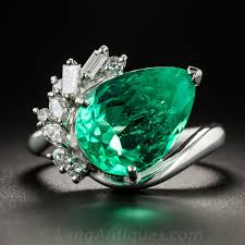 emerald bands rings images 4 48 carat pear shaped colombian emerald platinum and diamond ring jpg