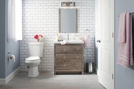 home depot bathroom ideas this wood vanity and on trend subway tile create simple