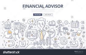 doodle vector illustration financial advisor giving stock vector