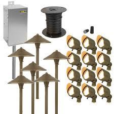 brass outdoor lighting lifetime finish brass led landscape lighting kit 12 spotlights 6 path lights
