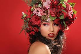 floral headpiece woman with floral headpiece on stock photo image
