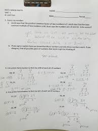 Finding Gcf And Lcm Worksheets Mr German U0027s Math Class 2017
