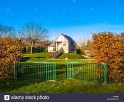 tiny house holiday chalet recreation area france stock photo