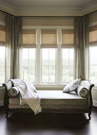 window treatment ideas for bay windows with seat delightful baby bedroom nursery with bay window seat plus drawer also blind feat curtain plaid accent along wooden